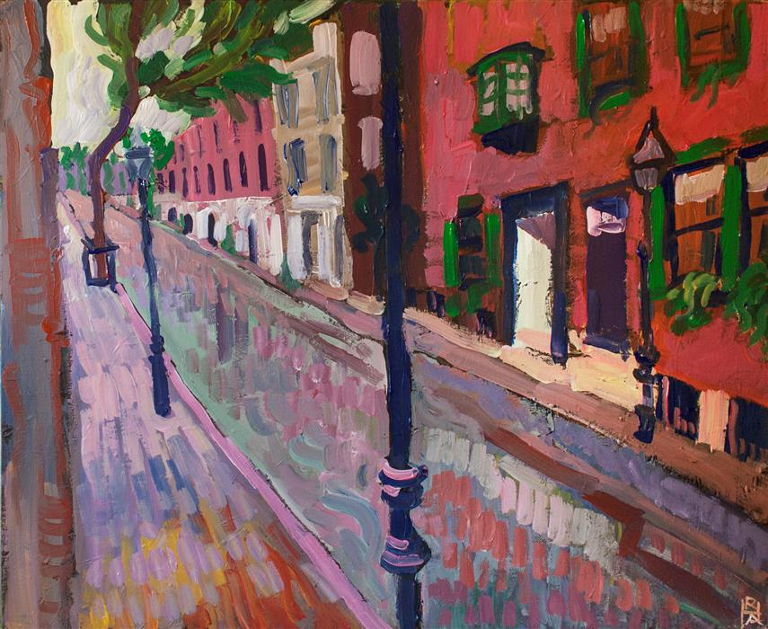 Original art for sale at UGallery.com | A Street in Beacon Hill by ROBERT HOFHERR | $925 |  | 24' h x 30' w | ..\art\acrylic-painting-A-Street-in-Beacon-Hill