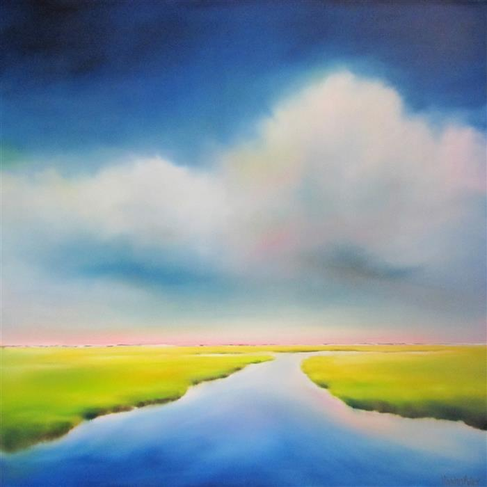 Original art for sale at UGallery.com | Marsh Blues III by NANCY HUGHES MILLER | $2,200 |  | 36' h x 36' w | ..\art\oil-painting-Marsh-Blues-III