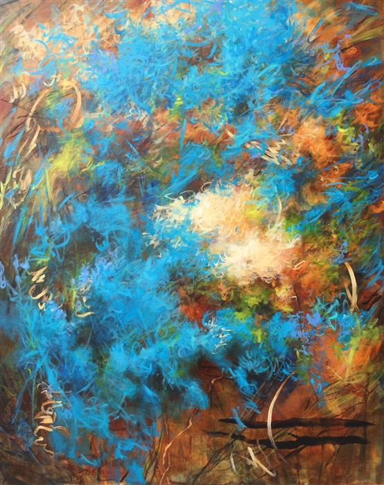Original art for sale at UGallery.com | Chasing Blue by FAITH TAYLOR | $5,625 |  | 60' h x 48' w | ..\art\mixed-media-artwork-Chasing-Blue