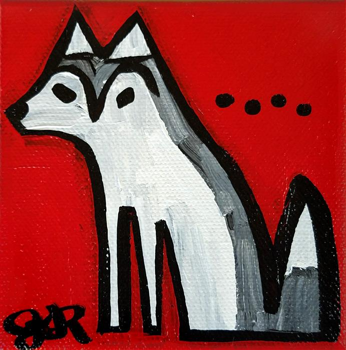 Original art for sale at UGallery.com | Siberian Husky on Red by JESSICA JH ROLLER | $75 |  | 4' h x 4' w | ..\art\acrylic-painting-Siberian-Husky-on-Red