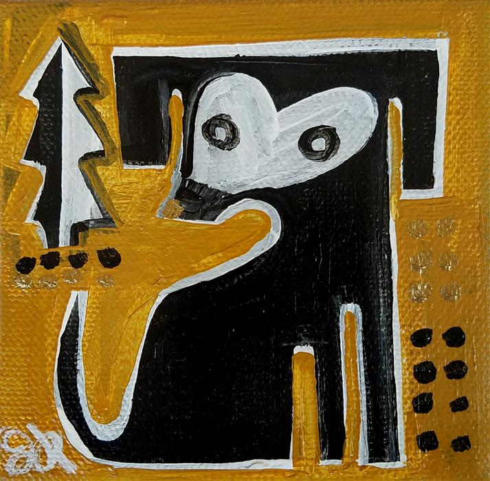 Original art for sale at UGallery.com | Black Dog on Ochre by JESSICA JH ROLLER | $75 |  | 4' h x 4' w | ..\art\acrylic-painting-Black-Dog-on-Ochre