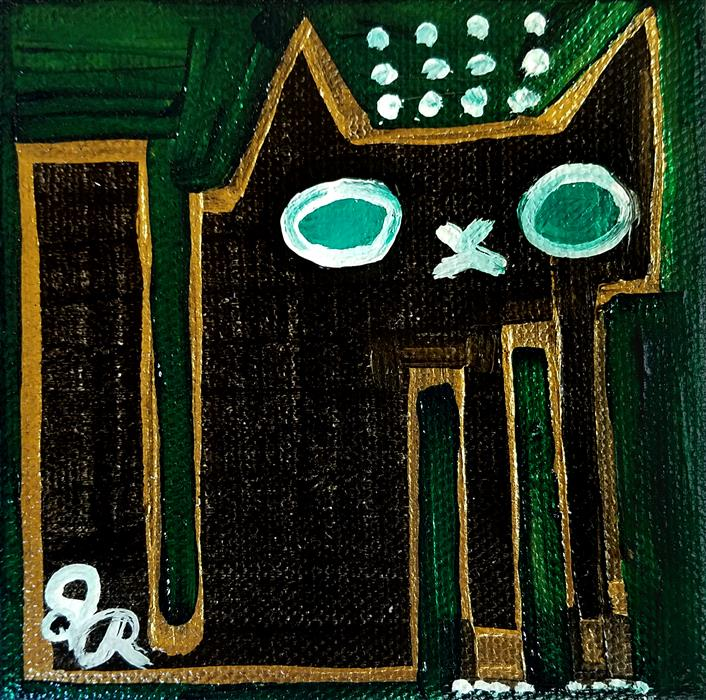 Original art for sale at UGallery.com | Black Cat on Green by JESSICA JH ROLLER | $75 |  | 4' h x 4' w | ..\art\acrylic-painting-Black-Cat-on-Green
