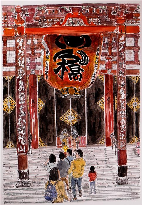Original art for sale at UGallery.com | Asakusa Temple - Tokyo by ORLANDO MARIN-LOPEZ | $650 |  | 7' h x 10.2' w | ..\art\watercolor-painting-Asakusa-Temple-Tokyo