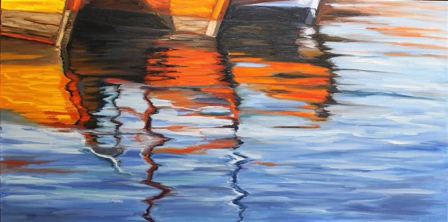 Original art for sale at UGallery.com | Reflections on the afternoon by Andres Lopez | $1,600 | oil painting | 24' h x 48' w | ..\art\oil-painting-Reflections-on-the-afternoon