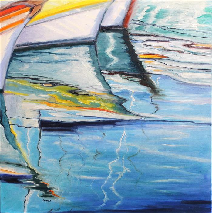 Original art for sale at UGallery.com | Regata  by Andres Lopez | $575 | oil painting | 24' h x 24' w | ..\art\oil-painting-Regata