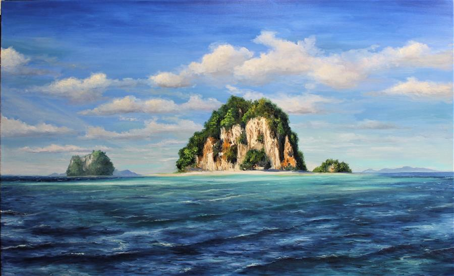 Original art for sale at UGallery.com | The Island by Andres Lopez | $2,800 | oil painting | 32' h x 52' w | ..\art\oil-painting-The-Island