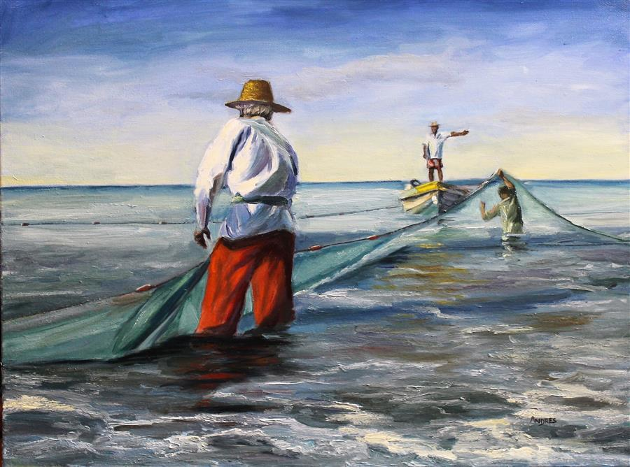 Original art for sale at UGallery.com | Sun and Nets by ANDRES LOPEZ | $550 |  | 18' h x 24' w | ..\art\oil-painting-Sun-and-Nets