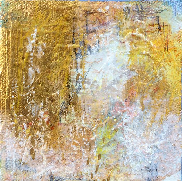 Original art for sale at UGallery.com | Gold Frost I by CHARLES KACIN | $75 |  | 4' h x 4' w | ..\art\mixed-media-artwork-Gold-Frost-I