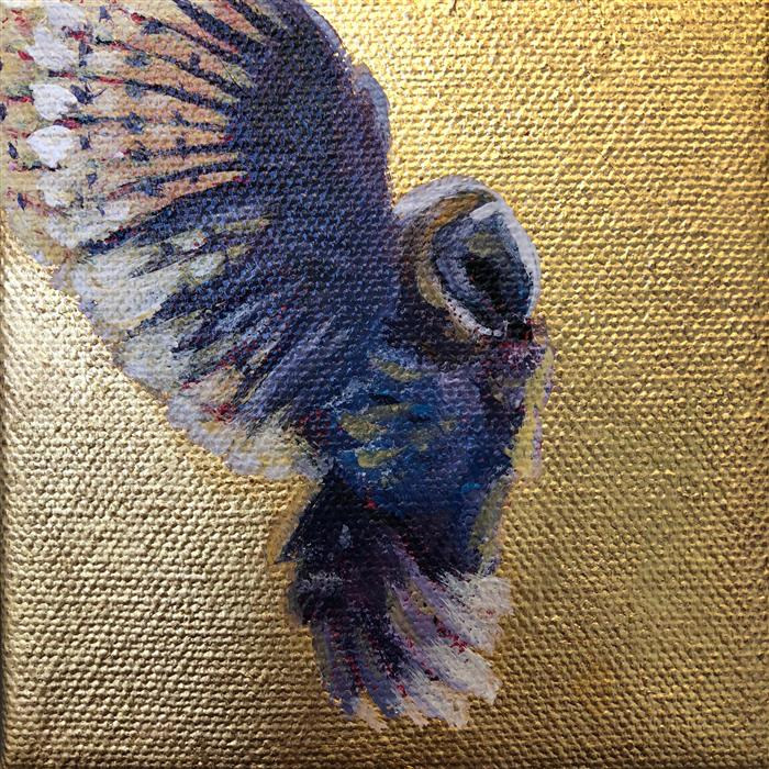 Original art for sale at UGallery.com | Barn Owl Descending by PANDALANA WILLIAMS | $75 |  | 4' h x 4' w | ..\art\oil-painting-Barn-Owl-Descending