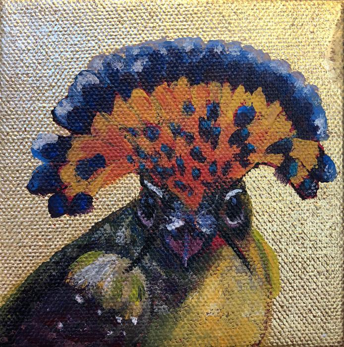Original art for sale at UGallery.com | Royal Flycatcher by PANDALANA WILLIAMS | $75 |  | 4' h x 4' w | ..\art\oil-painting-Royal-Flycatcher