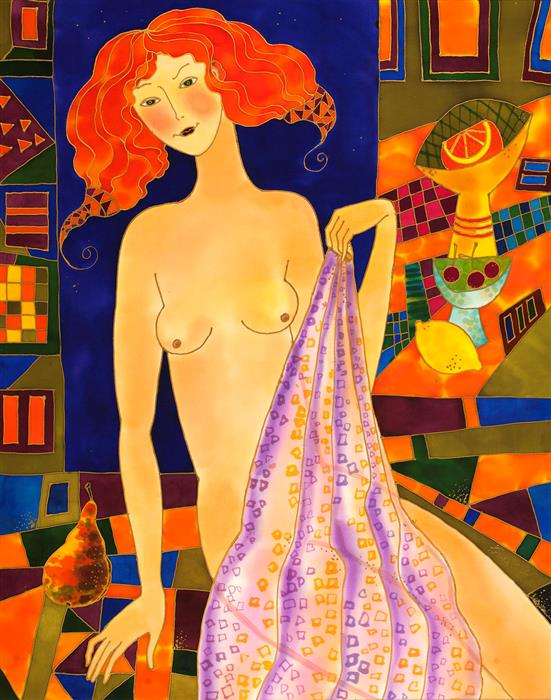 Original art for sale at UGallery.com | Red Head Nude by Yelena Sidorova | $1,475 | mixed media artwork | 30' h x 24' w | ..\art\mixed-media-artwork-Red-Head-Nude