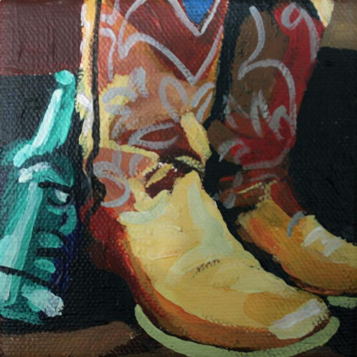 Original art for sale at UGallery.com | Beer Bottle Boots by MELINDA PATRICK | $75 |  | 4' h x 4' w | ..\art\acrylic-painting-Beer-Bottle-Boots