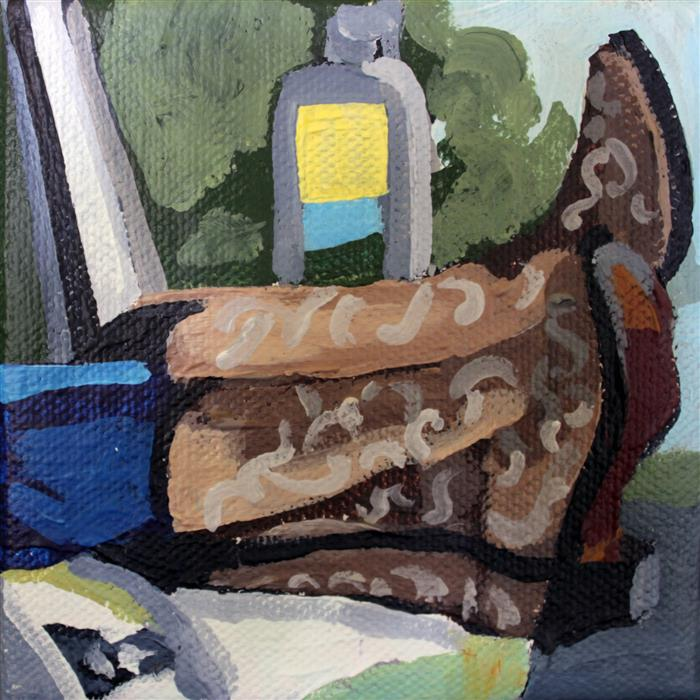 Original art for sale at UGallery.com | Chillin' Boots by MELINDA PATRICK | $75 |  | 4' h x 4' w | ..\art\acrylic-painting-Chillin-Boots