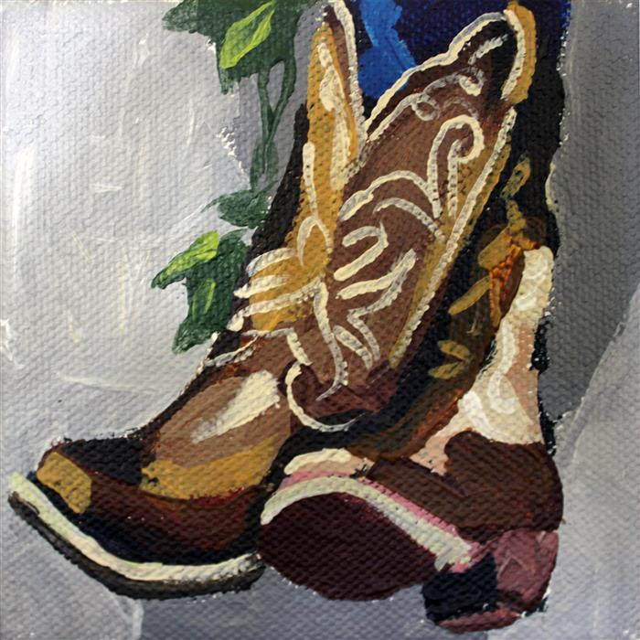 Original art for sale at UGallery.com | Off the Wall Boots by MELINDA PATRICK | $75 |  | 4' h x 4' w | ..\art\acrylic-painting-Off-the-Wall-Boots