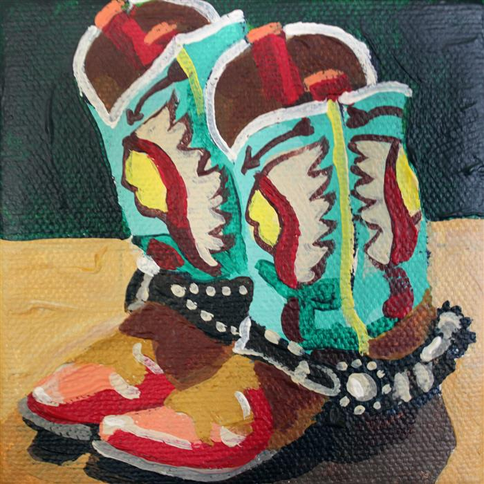 Original art for sale at UGallery.com | Oklahoma Boots by MELINDA PATRICK | $75 |  | 4' h x 4' w | ..\art\acrylic-painting-Oklahoma-Boots