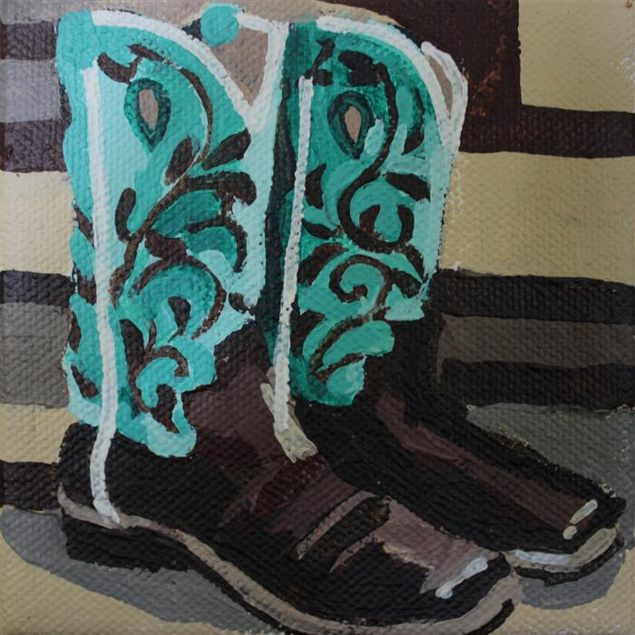 Original art for sale at UGallery.com | Rodeo Boots by MELINDA PATRICK | $75 |  | 4' h x 4' w | ..\art\acrylic-painting-Rodeo-Boots