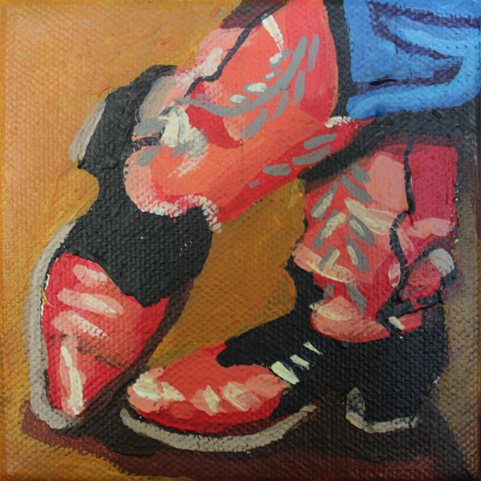 Original art for sale at UGallery.com | Scootin' Boots by MELINDA PATRICK | $75 |  | 4' h x 4' w | ..\art\acrylic-painting-Scootin-Boots