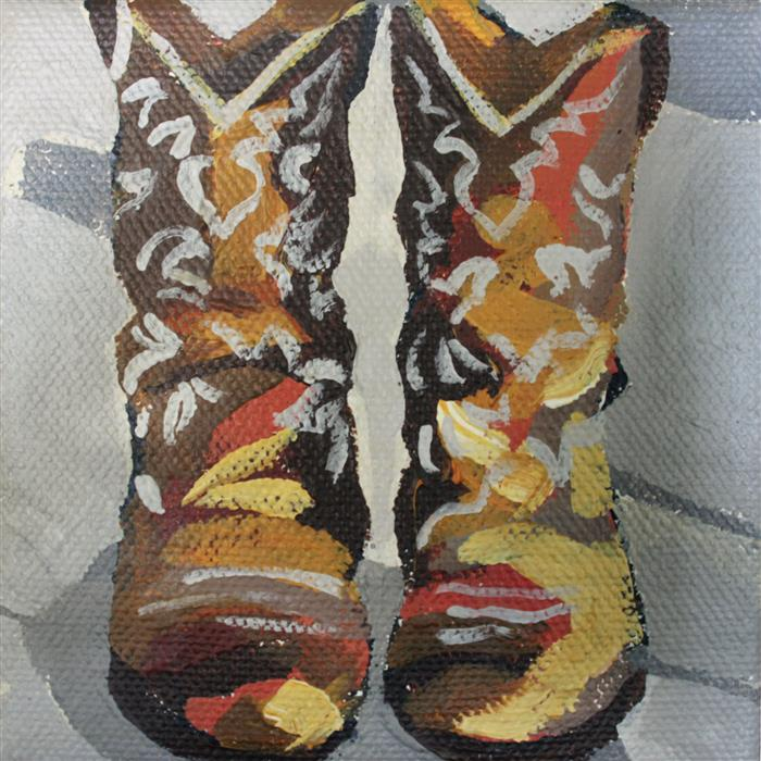 Original art for sale at UGallery.com | Upright Boots by MELINDA PATRICK | $75 |  | 4' h x 4' w | ..\art\acrylic-painting-Upright-Boots