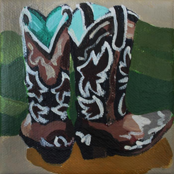 Original art for sale at UGallery.com | Vaquero Boots by MELINDA PATRICK | $75 |  | 4' h x 4' w | ..\art\acrylic-painting-Vaquero-Boots