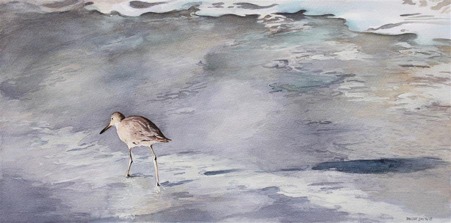 Original art for sale at UGallery.com | Wading with my Shadow by DWIGHT SMITH | $375 |  | 9' h x 18' w | ..\art\watercolor-painting-Wading-with-my-Shadow