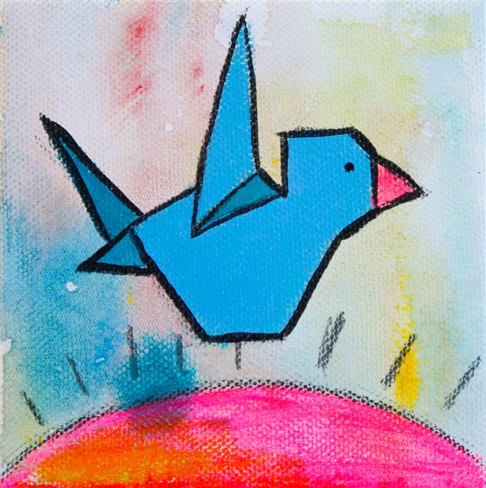 Original art for sale at UGallery.com | Flying Origami by MASHA VERESHCHENKO | $75 |  | 4' h x 4' w | ..\art\acrylic-painting-Flying-Origami