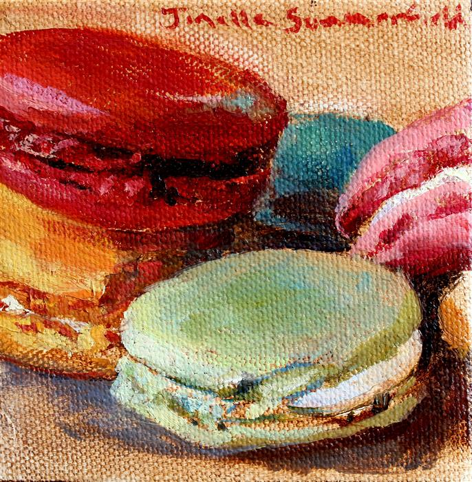 Original art for sale at UGallery.com | Assorted Macaroons by JONELLE SUMMERFIELD | $75 |  | 4' h x 4' w | ..\art\oil-painting-Assorted-Macaroons