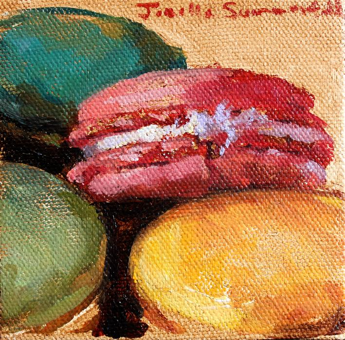 Original art for sale at UGallery.com | Assorted Macaroons II by JONELLE SUMMERFIELD | $75 |  | 4' h x 4' w | ..\art\oil-painting-Assorted-Macaroons-II