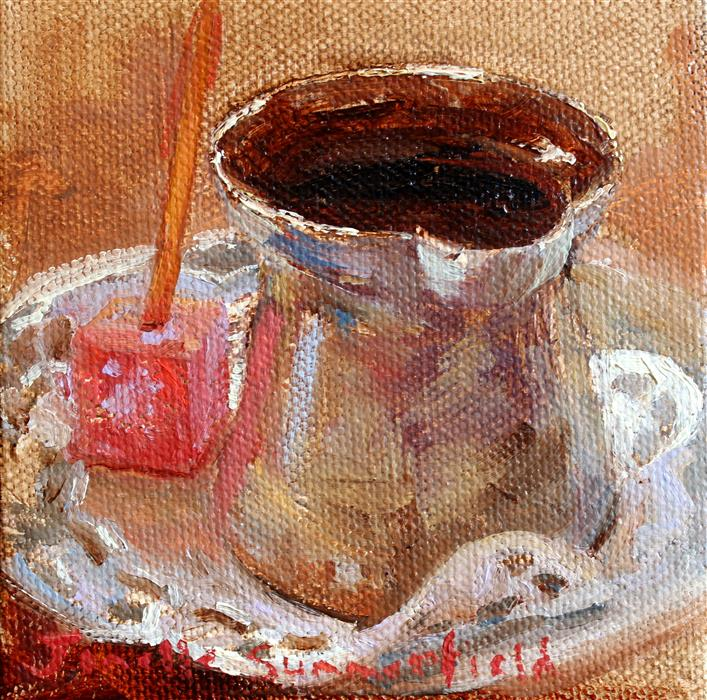 Original art for sale at UGallery.com | Turkish Coffee by JONELLE SUMMERFIELD | $75 |  | 4' h x 4' w | ..\art\oil-painting-Turkish-Coffee