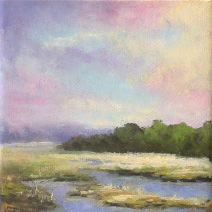 Original art for sale at UGallery.com | The Marsh by GAIL GREENE | $75 |  | 4' h x 4' w | ..\art\oil-painting-The-Marsh