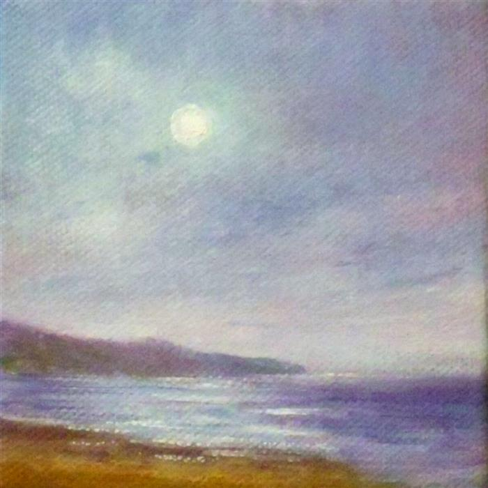 Original art for sale at UGallery.com | Moon Light Cove by GAIL GREENE | $75 |  | 4' h x 4' w | ..\art\oil-painting-Moon-Light-Cove