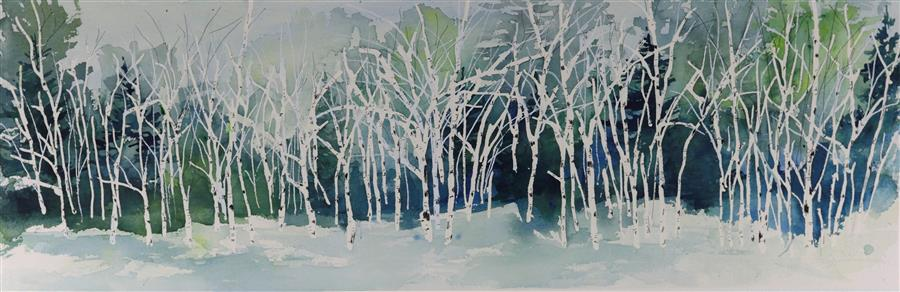 Original art for sale at UGallery.com | Still Standing in the Snow by TAMARA GONDA | $475 |  | 9' h x 28' w | ..\art\watercolor-painting-Still-Standing-in-the-Snow