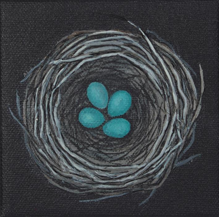 Original art for sale at UGallery.com | Nest, Turquoise Eggs by JENNIFER ROSS | $75 |  | 4' h x 4' w | ..\art\acrylic-painting-Nest-Turquoise-Eggs