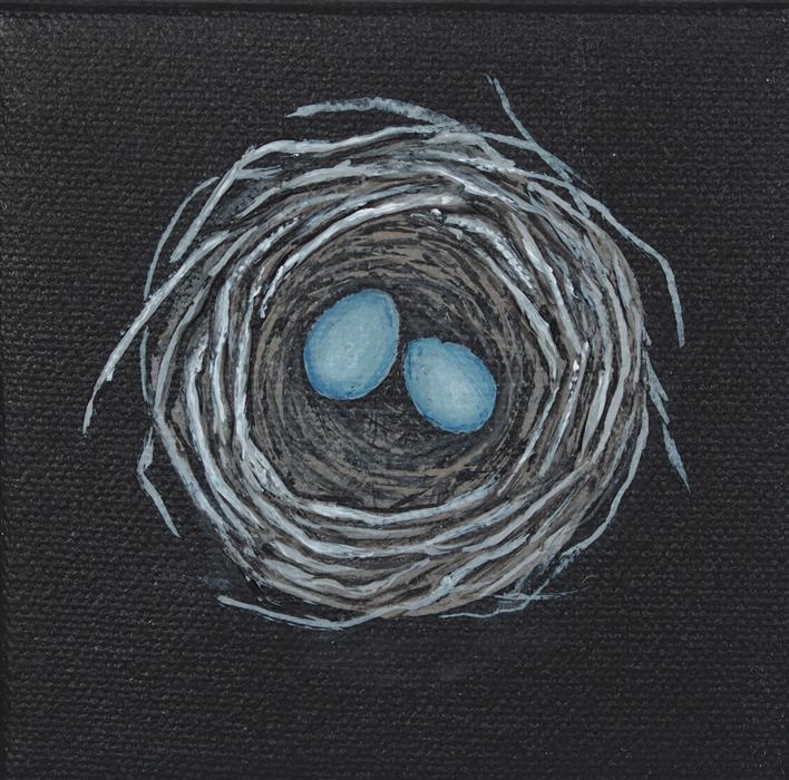Original art for sale at UGallery.com | Nest, Blue Eggs by JENNIFER ROSS | $75 |  | 4' h x 4' w | ..\art\acrylic-painting-Nest-Blue-Eggs