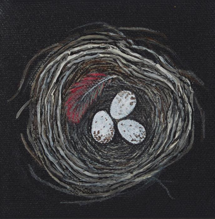 Original art for sale at UGallery.com | Nest, Eggs, Feather by JENNIFER ROSS | $75 |  | 4' h x 4' w | ..\art\acrylic-painting-Nest-Eggs-Feather