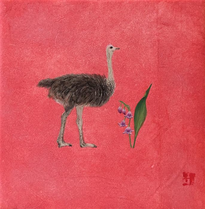Original art for sale at UGallery.com | Ostrich by LYDIA KIM | $75 |  | 4' h x 4' w | ..\art\mixed-media-artwork-ostrich