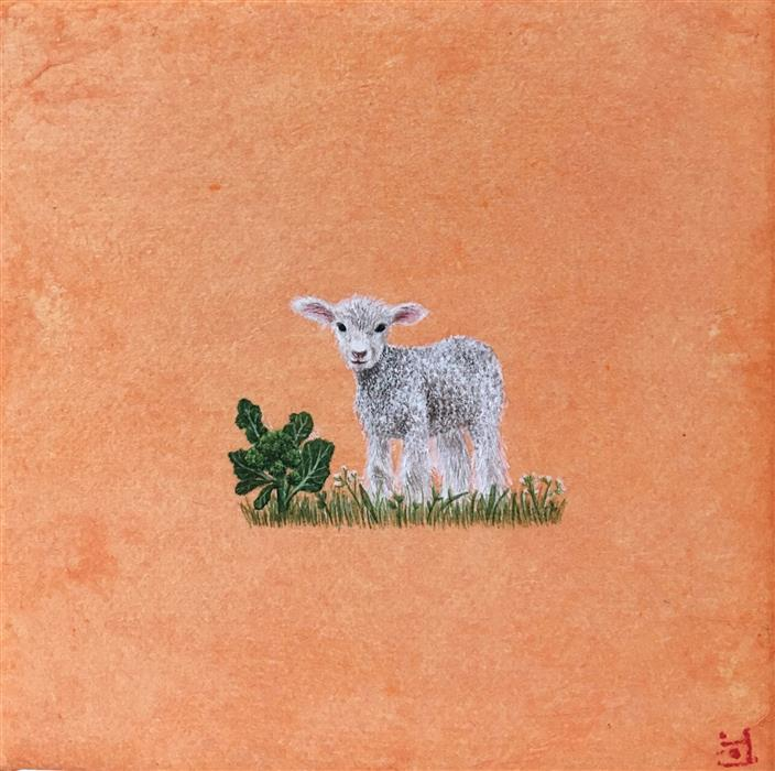 Original art for sale at UGallery.com | Lamb by HEEJIN SUTTON | $75 |  | 4' h x 4' w | ..\art\mixed-media-artwork-Lamb