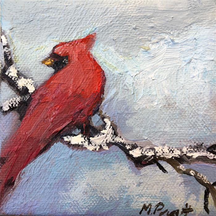 Original art for sale at UGallery.com | Big Red In The Snow by MARY PRATT | $75 |  | 4' h x 4' w | ..\art\oil-painting-Big-Red-In-The-Snow