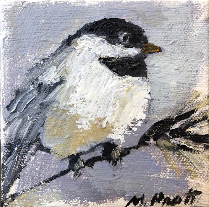 Original art for sale at UGallery.com | My Little Chickadee by MARY PRATT | $75 |  | 4' h x 4' w | ..\art\oil-painting-My-Little-Chickadee