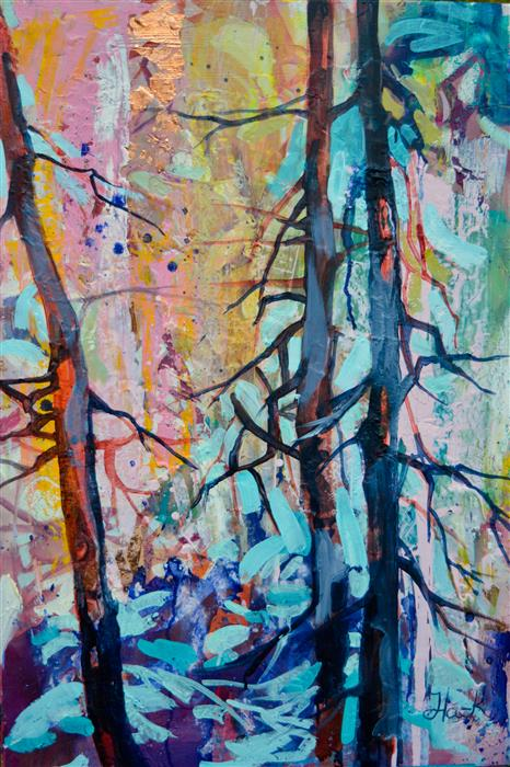 Original art for sale at UGallery.com | In the Woods by JULIA  HACKER | $925 |  | 30' h x 24' w | ..\art\mixed-media-artwork-In-the-Woods-56882