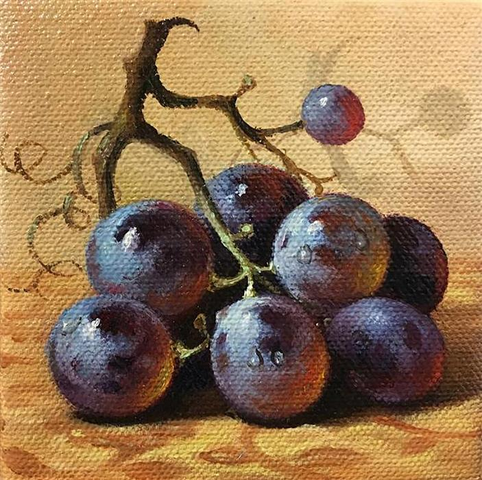 Original art for sale at UGallery.com | Black Grape by NIKOLAY RIZHANKOV | $75 |  | 4' h x 4' w | ..\art\oil-painting-Black-Grape