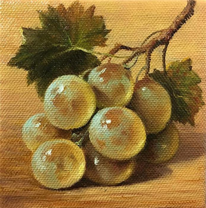 Original art for sale at UGallery.com | White Grape by NIKOLAY RIZHANKOV | $75 |  | 4' h x 4' w | ..\art\oil-painting-White-Grape