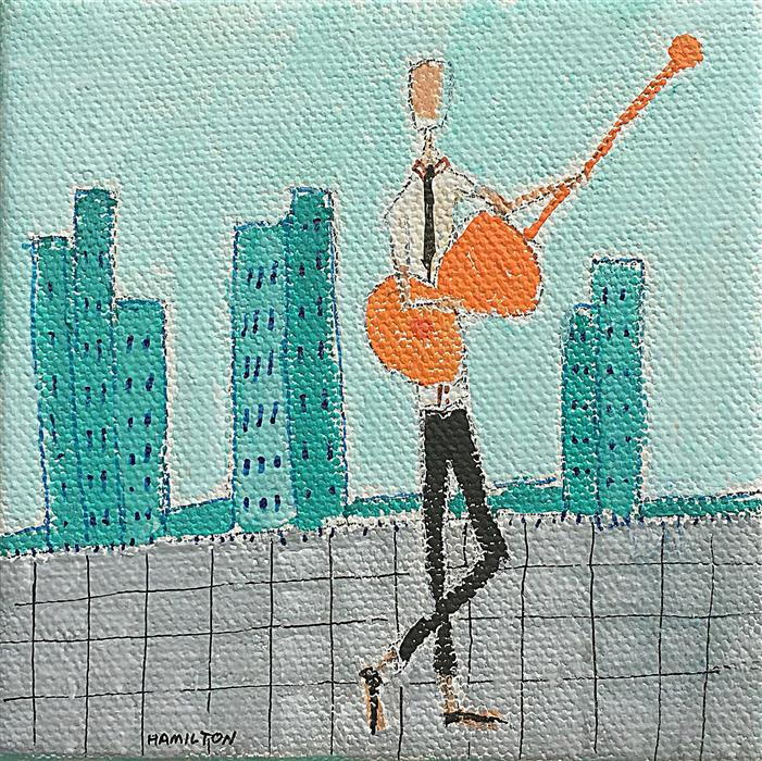 Original art for sale at UGallery.com | City Jammin by RICK HAMILTON | $75 |  | 4' h x 4' w | ..\art\acrylic-painting-City-Jammin