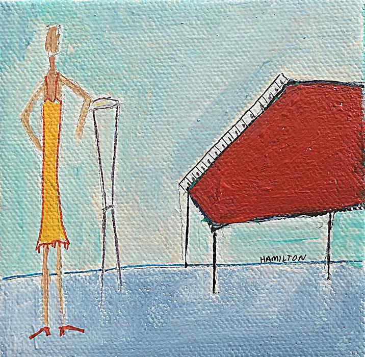 Original art for sale at UGallery.com | Red Piano by RICK HAMILTON | $75 |  | 4' h x 4' w | ..\art\acrylic-painting-Red-Piano