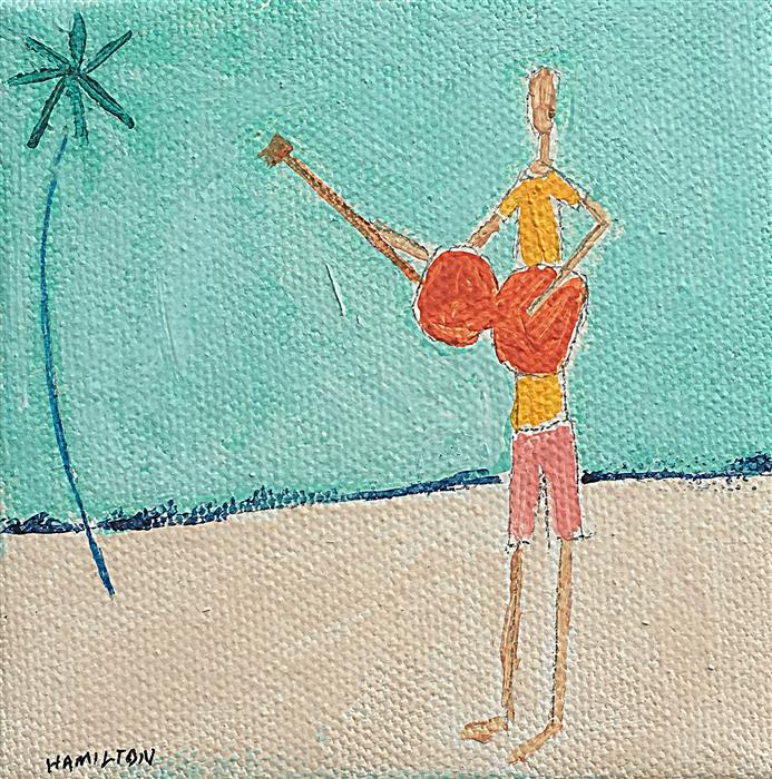 Original art for sale at UGallery.com | Beach Music by RICK HAMILTON | $75 |  | 4' h x 4' w | ..\art\acrylic-painting-Beach-Music-56917