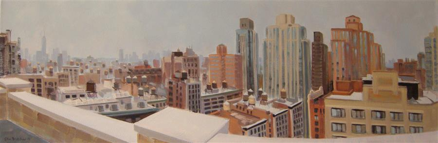 Original art for sale at UGallery.com | Water Towers (from 230 Fifth and 27th St) by ELLEN BRADSHAW | $3,025 |  | 12' h x 36' w | ..\art\oil-painting-Water-Towers-from-230-Fifth-and-27th-St