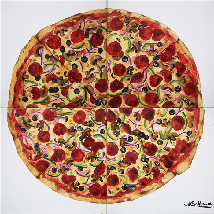 Original art for sale at UGallery.com | Everything Pizza by JJ GALLOWAY | $1,350 |  | 24' h x 24' w | ..\art\oil-painting-Everything-Pizza