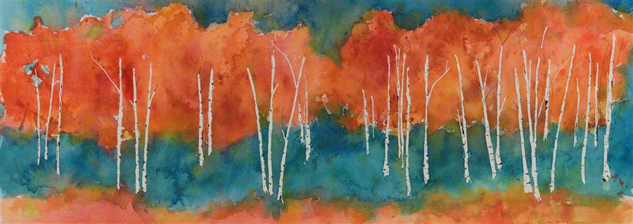 Original art for sale at UGallery.com | In October by TAMARA GONDA | $725 |  | 10' h x 29' w | ..\art\watercolor-painting-In-October