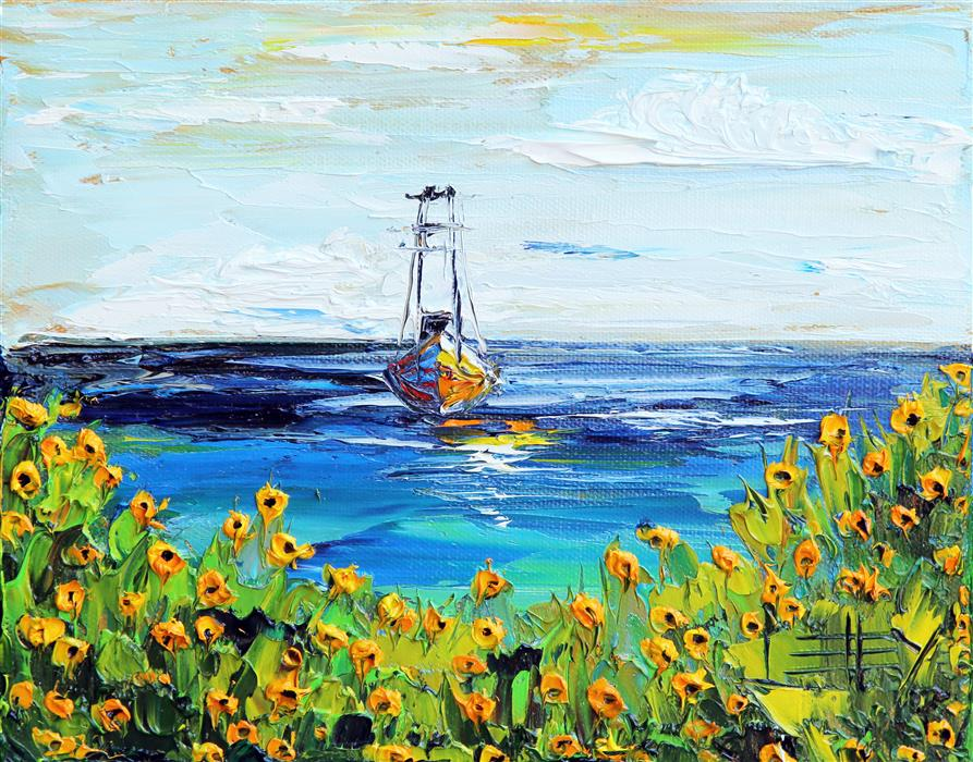 Original art for sale at UGallery.com | Sailing in Monterey by LISA ELLEY | $300 |  | 8' h x 10' w | ..\art\oil-painting-Sailing-in-Monterey
