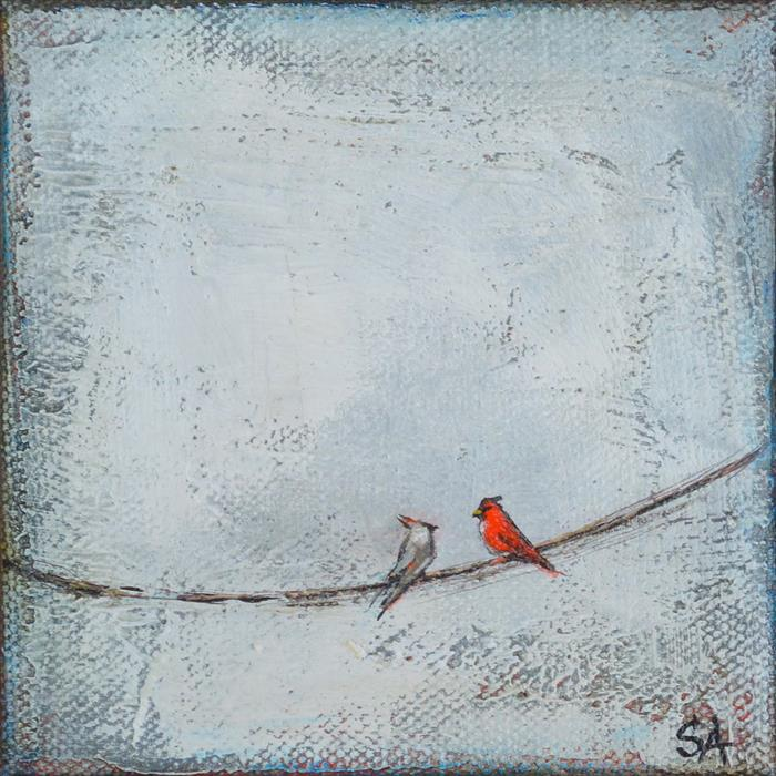 Original art for sale at UGallery.com | Two Cardinals Profile by SALLY ADAMS | $75 |  | 4' h x 4' w | ..\art\acrylic-painting-Two-Cardinals-Profile