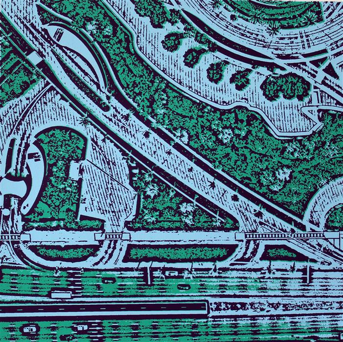 Original art for sale at UGallery.com | Dubai Roads by TONI SILBER-DELERIVE | $200 |  | 12' h x 12' w | ..\art\printmaking-Dubai-Roads